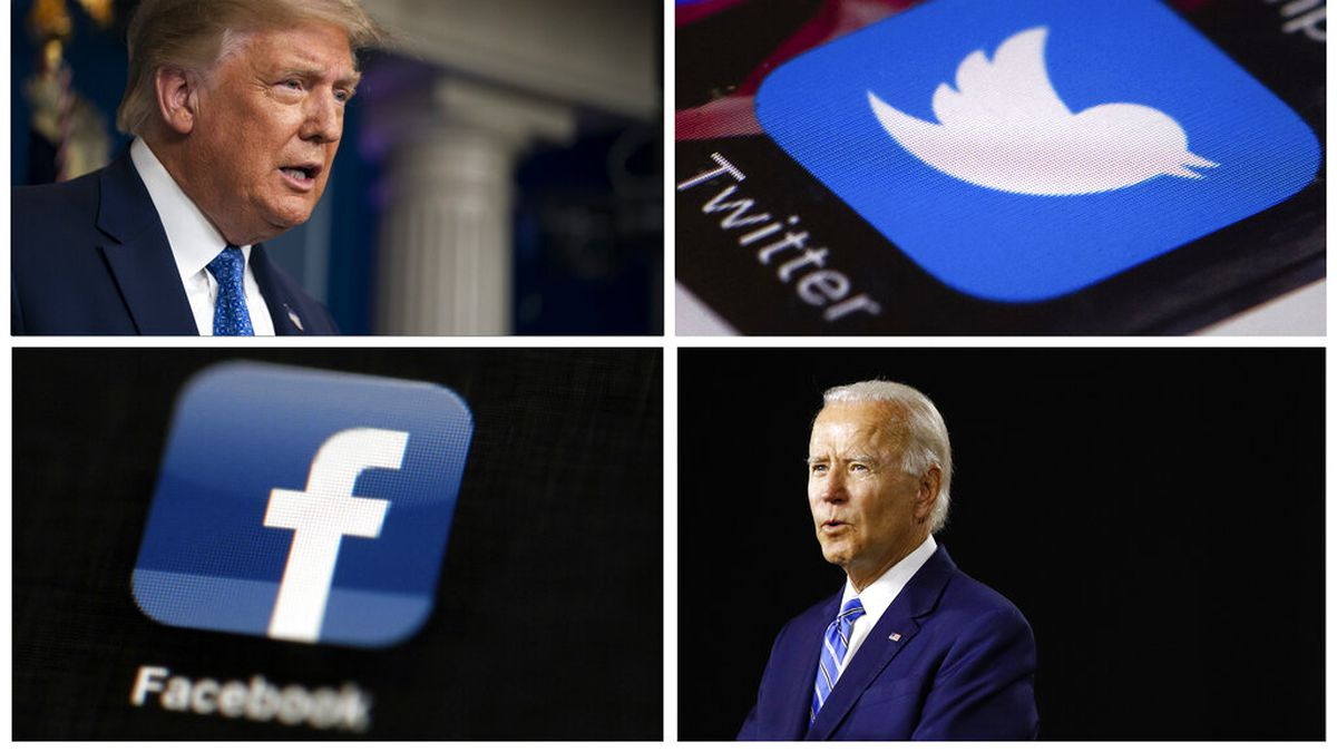 This photo combo of images shows, clockwise, from upper left: President Donald Trump speaking during a news conference at the White House on July 22, 2020, in Washington, the Twitter app, Democratic presidential candidate, former Vice President Joe Biden speaking during a campaign event on July 14, 2020, in Wilmington, Del., and the Facebook app. With just 100 days to go until Election Day, President Donald Trump and his Democratic rival Joe Biden aren't just attacking one another in online ads. Their ads are also targeting tech companies like Facebook and Twitter.