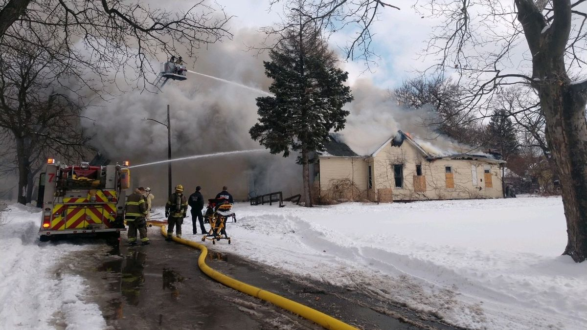 Crews are battling a fire in the 600 block of Norwood in Toledo on Friday, Feb. 19.
