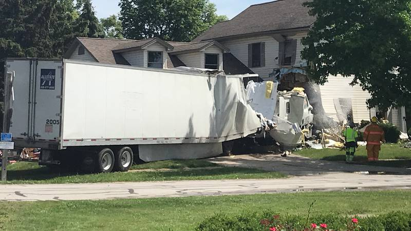 A semi truck crashed into a house in Grand Rapids, Ohio, on Wednesday, June 16.