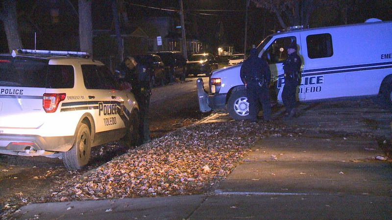 An unknown person kicked in a door and shot a man at a home on Lawrence Ave. in Toledo