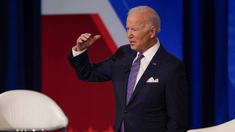 President Joe Biden participates in a CNN town hall at the Baltimore Center Stage Pearlstone...