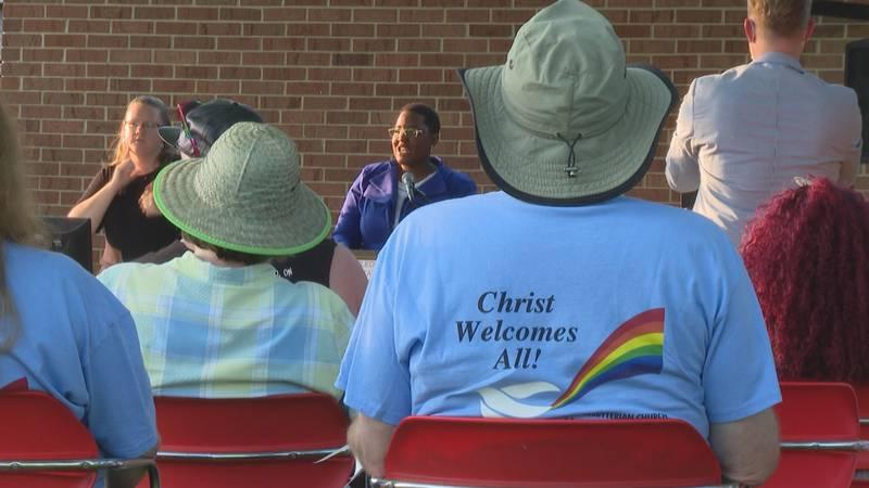 Equality Toledo Executive Director Sheena Barnes talks at a multi-faith pride service.