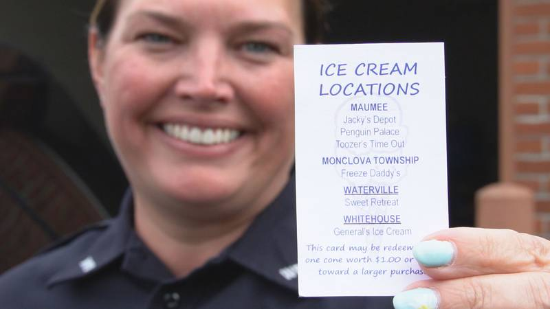 Whitehouse Police will hand out coupons for free ice cream at local shops.