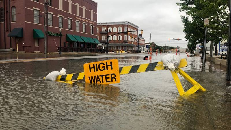 Flood waters in Port Clinton, Ohio on May 28, 2021.