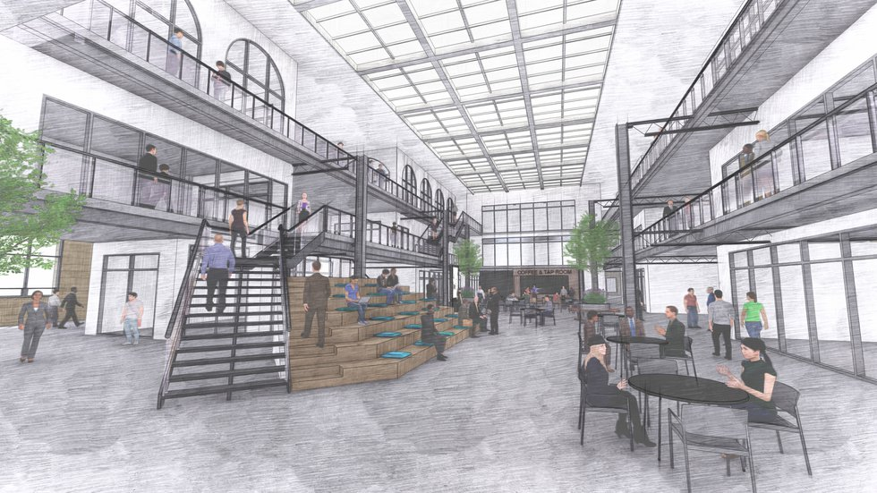 An artist's rendering of a new tech innovation center at the former Jefferson Center in Toledo.