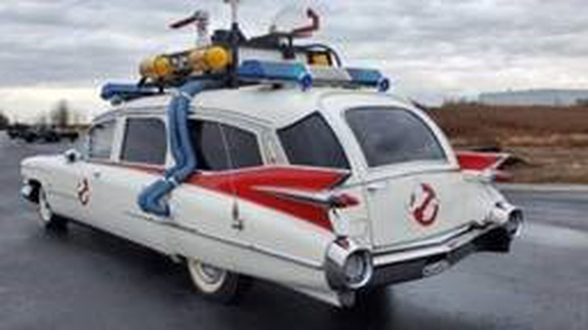 """A replica of the Ectomobile from """"Ghostbusters"""" will be sold at an Ohio auction on Aug. 1. (Photo courtesy of US Marshals)"""