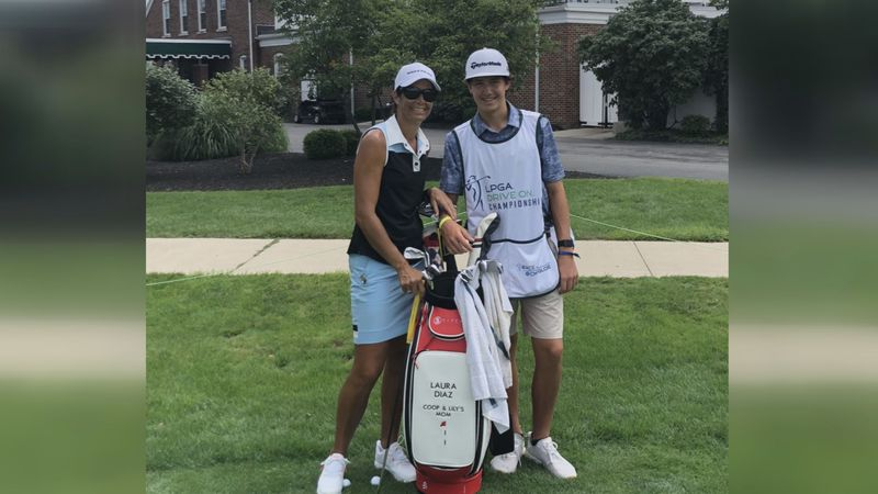 Laura Diaz has her son, Cooper, as her summer caddie on the LPGA Tour.