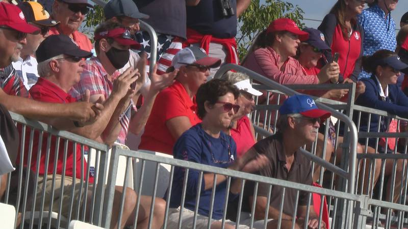 Team USA fans watch Friday's practice session at the Solheim Cup.