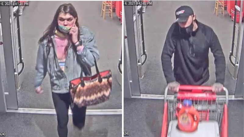 Authorities are looking for these two suspects in connection with eight stolen laptops from the...
