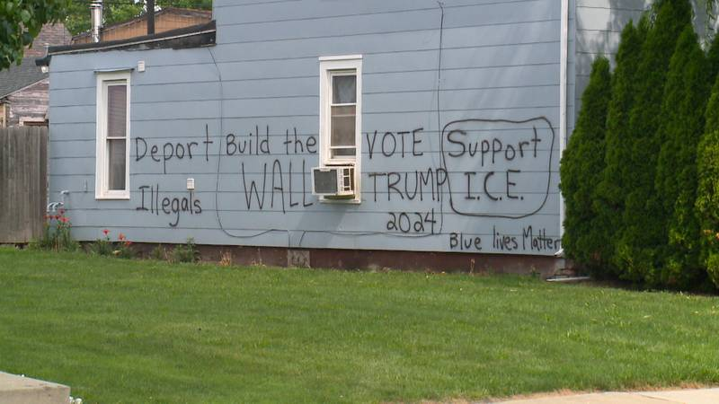 Neighbors want racist graffiti removed from home