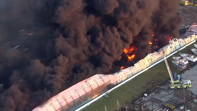 Marina fire in La Salle Michigan