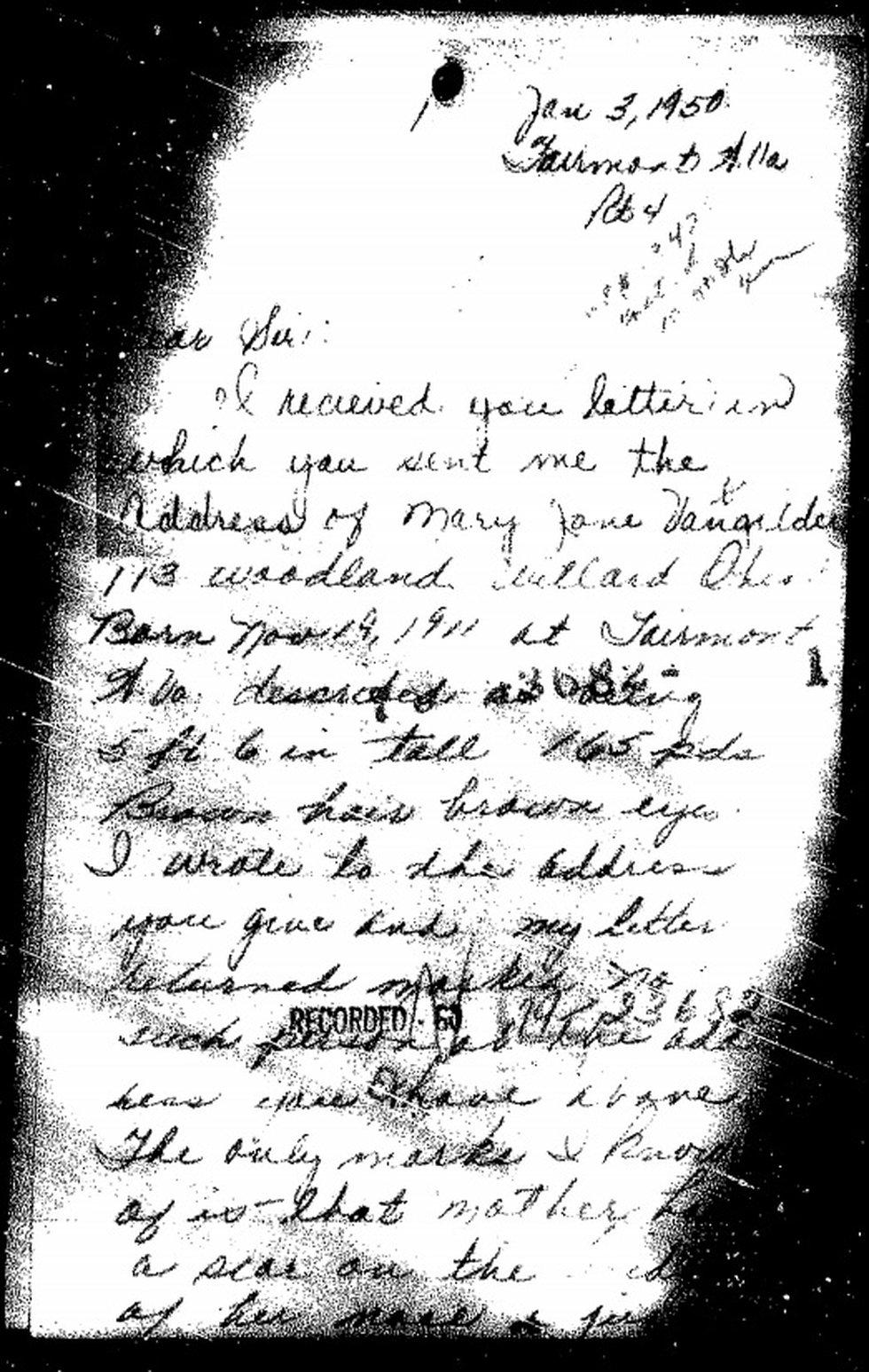 A handwritten letter from Mary Jane's oldest daughter addressed to the FBI asks for help in the...