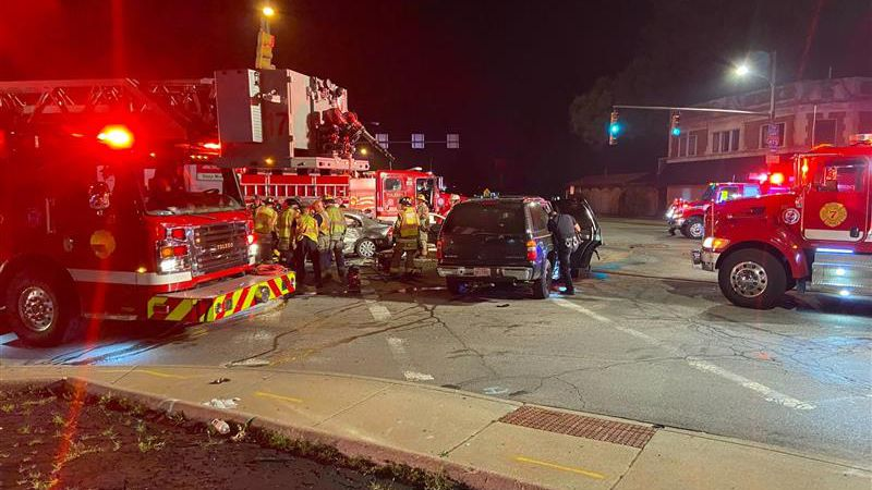 Three people taken to hospital after crash in Toledo.
