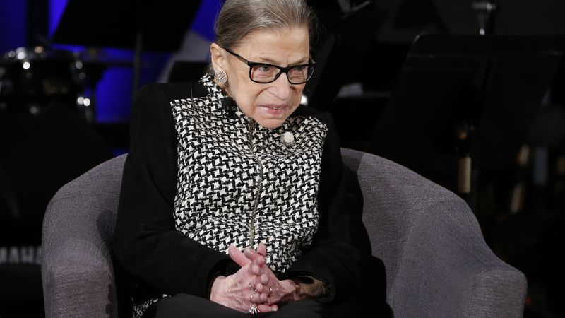 FILE - In this Dec. 17, 2019, file photo Supreme Court Justice Ruth Bader Ginsburg speaks with...