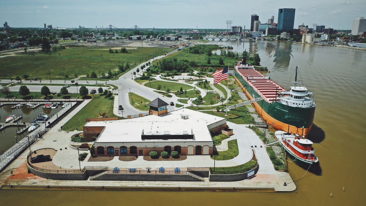 An aerial view of the National Museum of the Great Lakes in Toledo, Ohio.