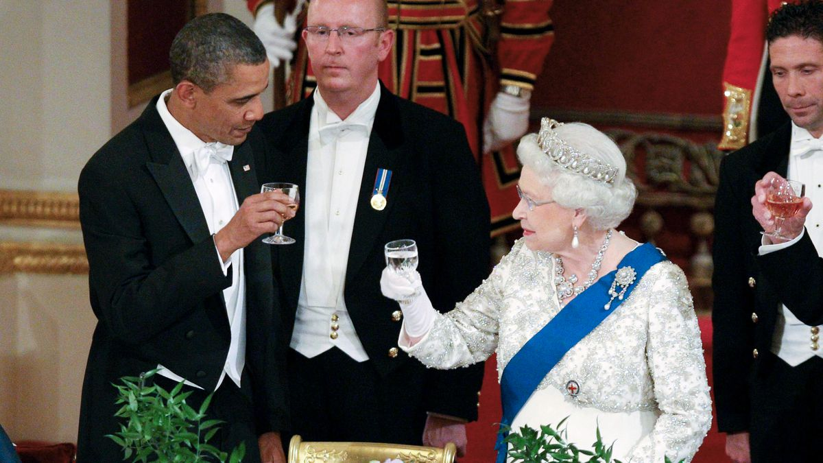 In this May 24, 2011, file photo Queen Elizabeth II, and U.S. President Barack Obama attend a...