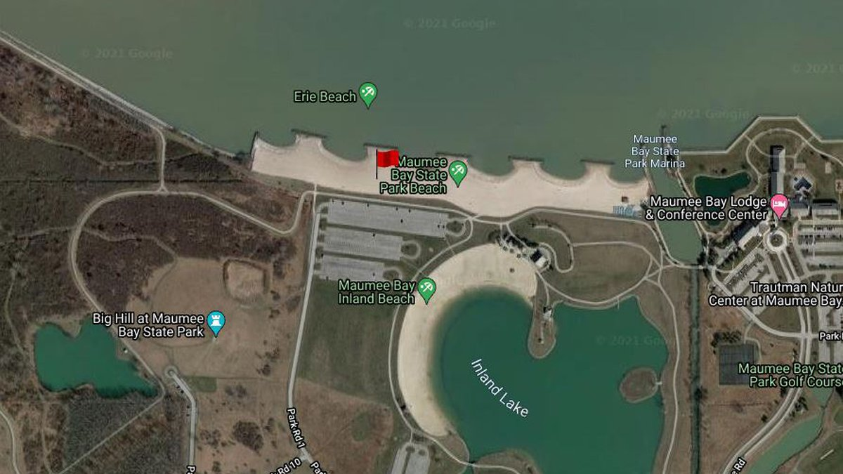 An Elevated Recreational Public Health Advisory is in place at the Lake Erie beach at Maumee...