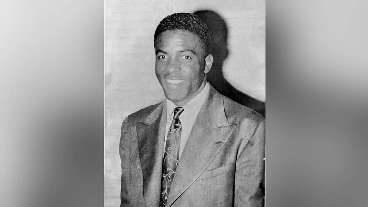 This file photo shows Jackie Robinson, who played with the Kansas City Monarchs, then signed in Montreal, October 23, 1945, to play with the Montreal Royals of the International League, a farm team for the Brooklyn Dodgers.(AP Photo)
