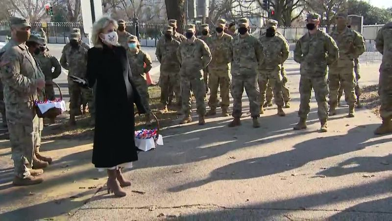 First Lady Jill Biden delivers treats to the National Guard at D.C. to thank them for...