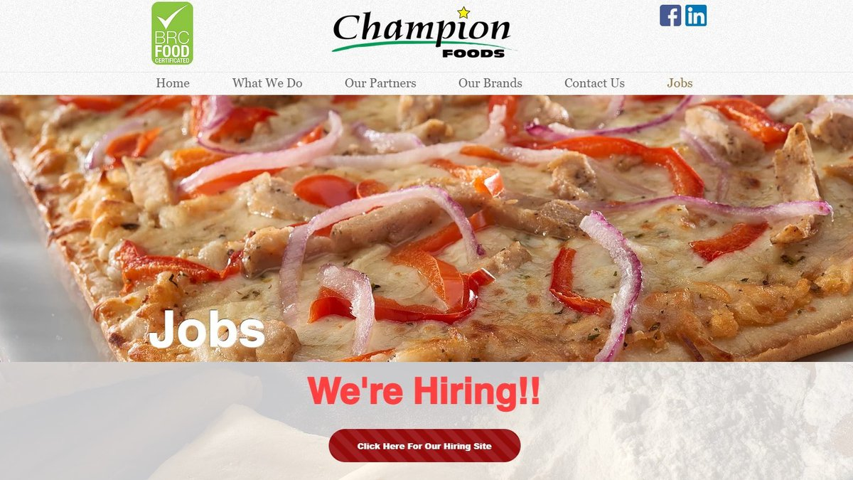 Champion Foods hiring for its New Boston, Mich. plant.