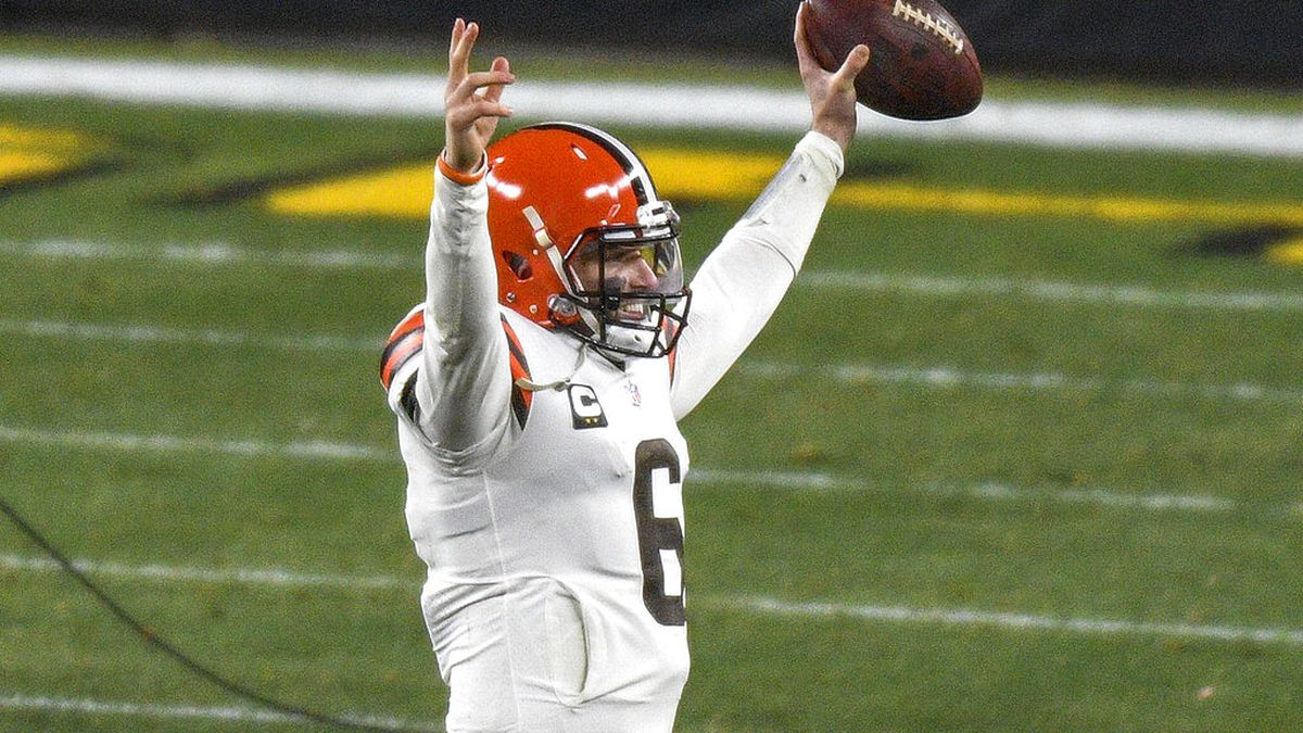 Cleveland Browns quarterback Baker Mayfield (6) celebrates as he walks off the field following...