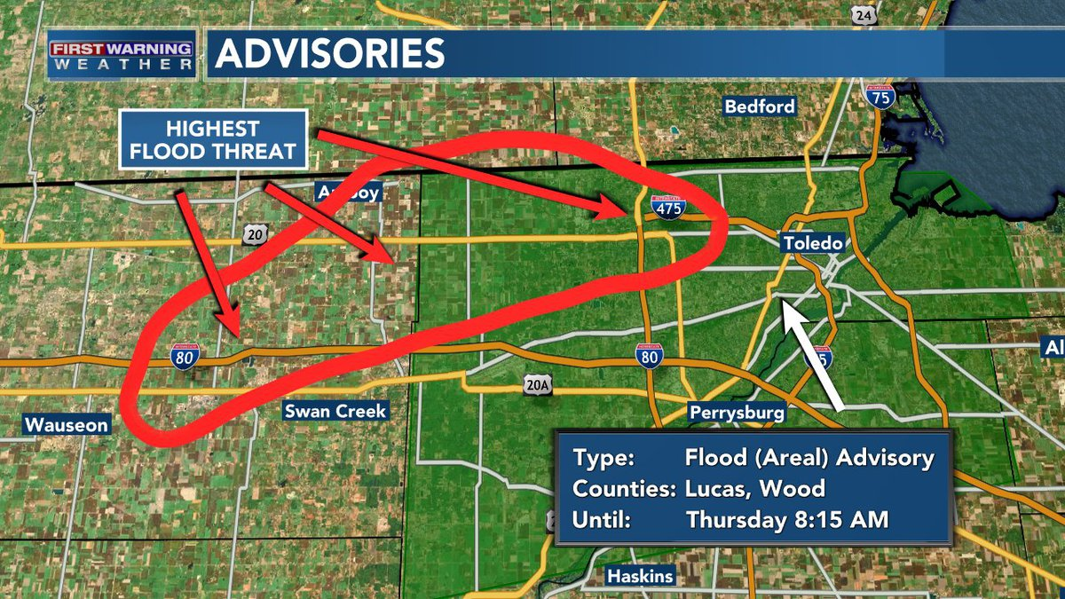Areas of Lucas and Fulton counties are at risk of flooding on Thursday morning.