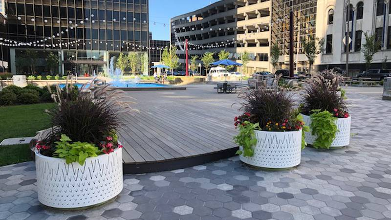 There are dozens of planters and garden beds throughout the downtown, and the plan is to add more