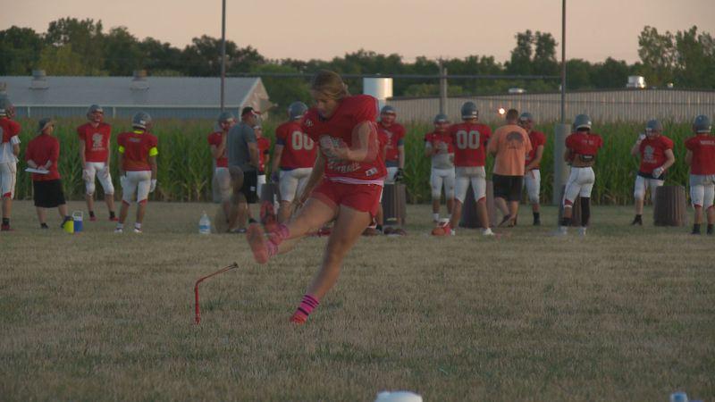 The St. Joseph Central Catholic freshman is working toward the kicking job with the Crimson...