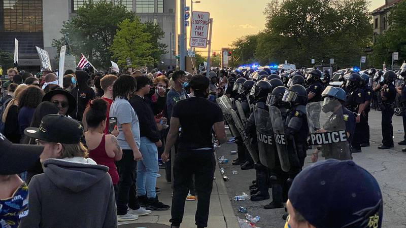 Toledo Police and protesters clash during May 30, 2020 protests.