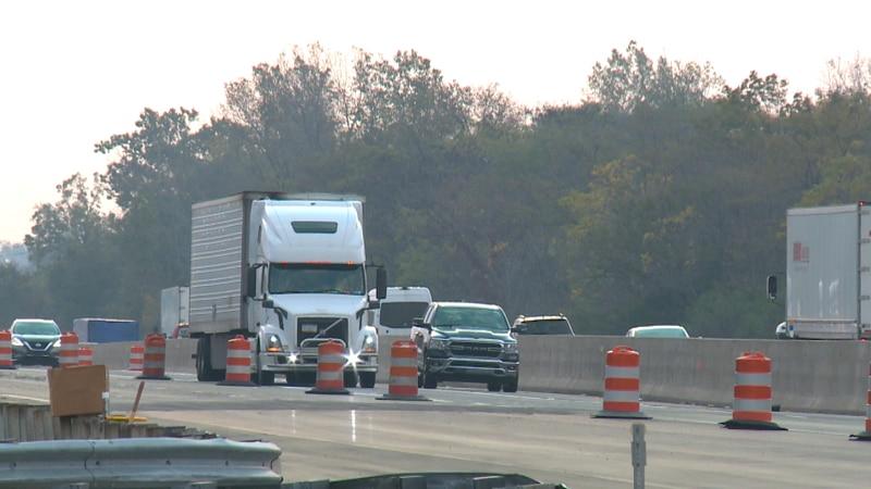 Traffic moves down Ohio turnpike near Elmore on Oct. 14, 2021.