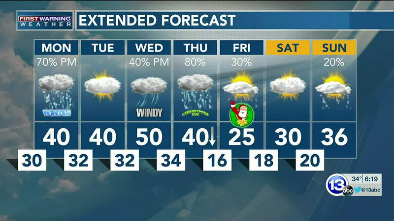 A rain/snow mix tomorrow, with more snow by Christmas Eve. Dan Smith has the details.