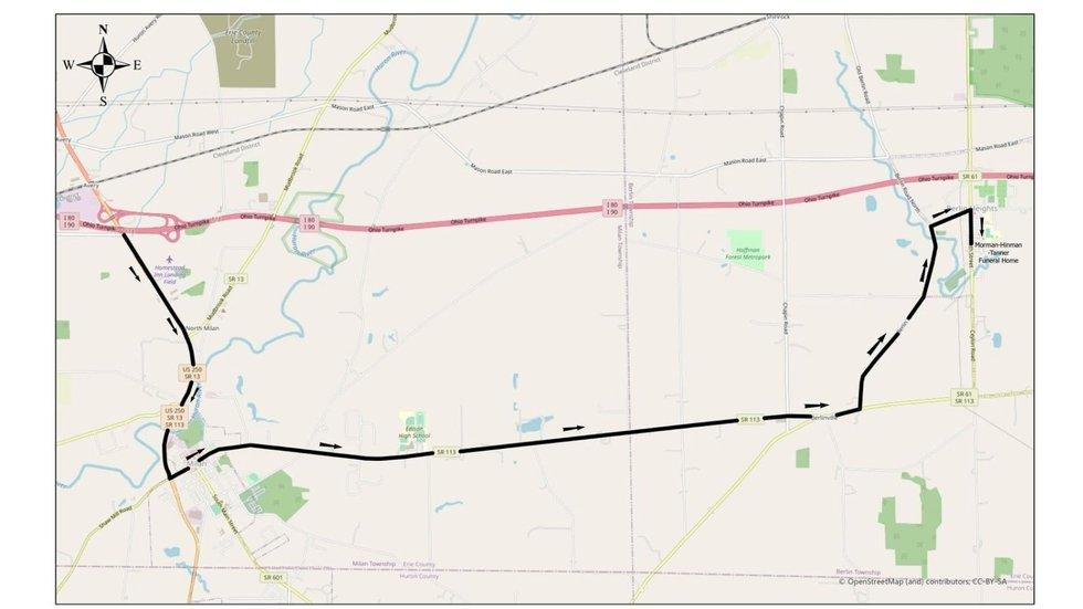 The public procession route for Max Soviak.
