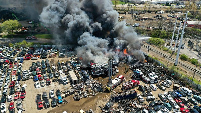 TFRD battles a fire at a Toledo auto parts business