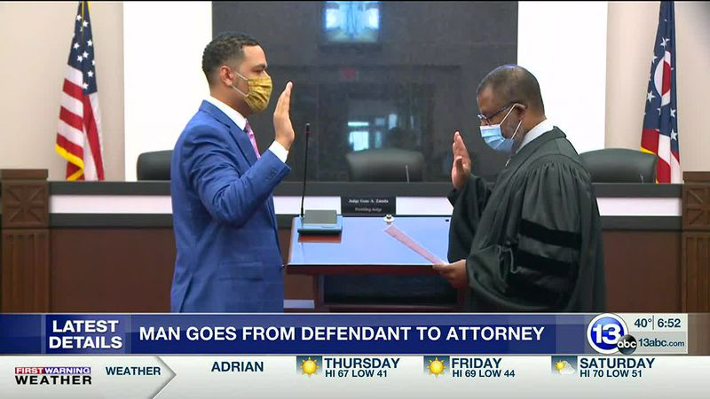 Man goes from defendant to attorney