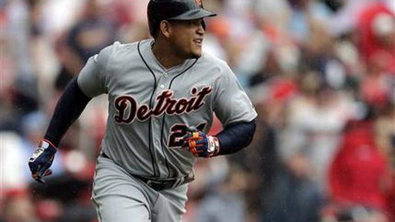 Detroit Tigers' Miguel Cabrera rounds the bases after hitting a solo home run during the first...