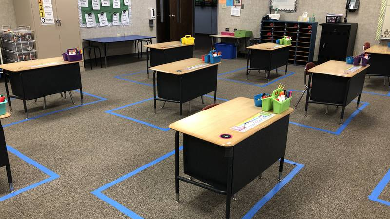 New safety measures include marking desks six feet away from each other.