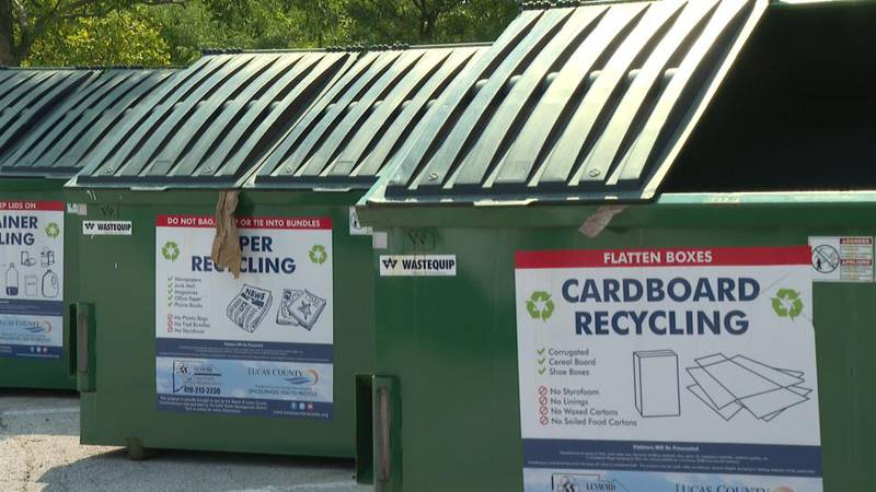 Recycling dumpsters for cardboard at Oregon Municipal Complex.