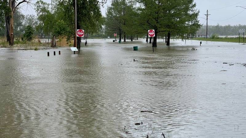 Flooding at Cullen Park in Toledo, Ohio on May 28, 2021.