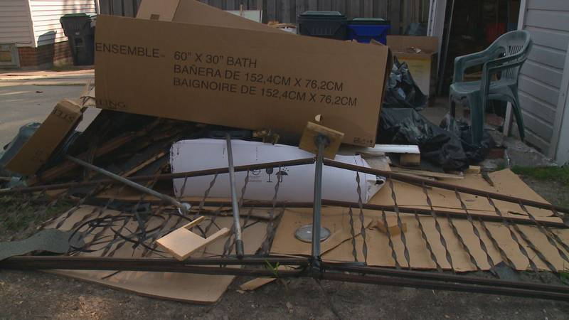A home owner is frustrated by work left incomplete by Thompson Construction and Concrete LLC.