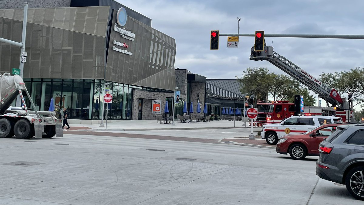 Fire crews were seen on the roof of the Imagination Station in Downtown Toledo.