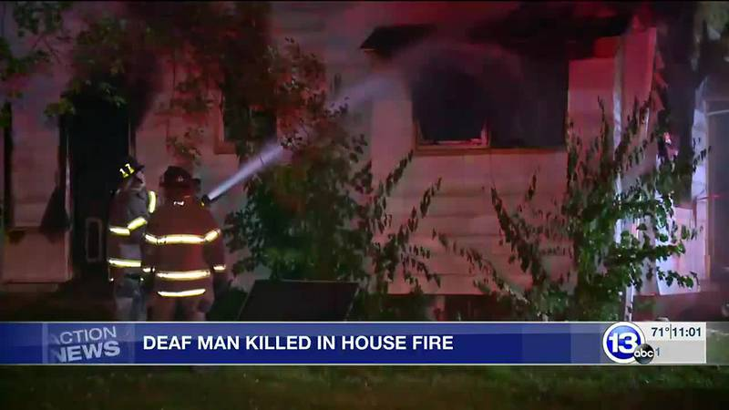 The deaf man was upstairs in a bedroom, while the house was ablaze.