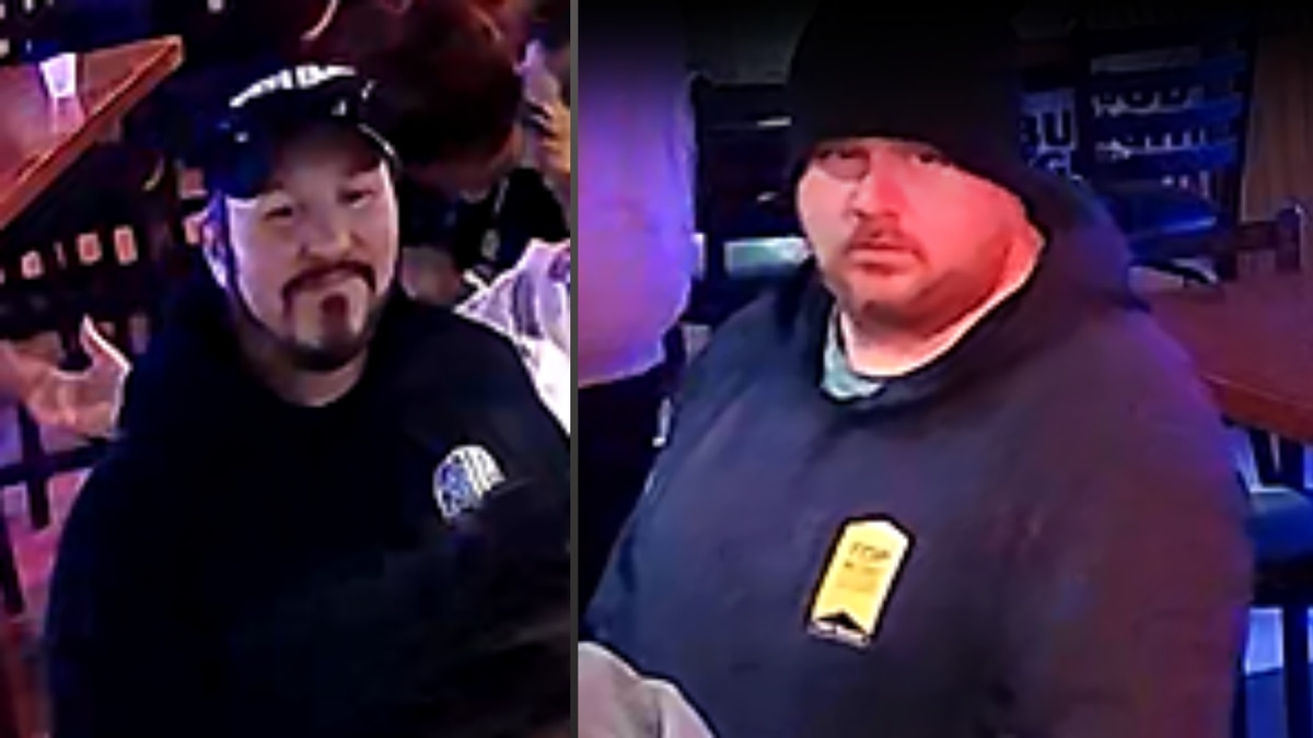 Police say Ryan Bain, left, was assaulted outside a bar in East Toledo in the early morning hours of Jan. 23. The unidentified man on the right allegedly damaged Bain's vehicle as he was being transported to the hospital.