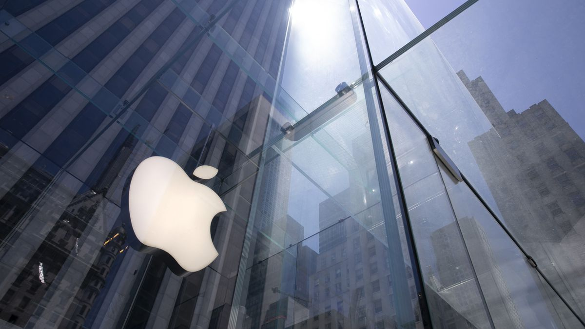 FILE - In this June 16, 2020 file photo, the sun is reflected on Apple's Fifth Avenue store in...