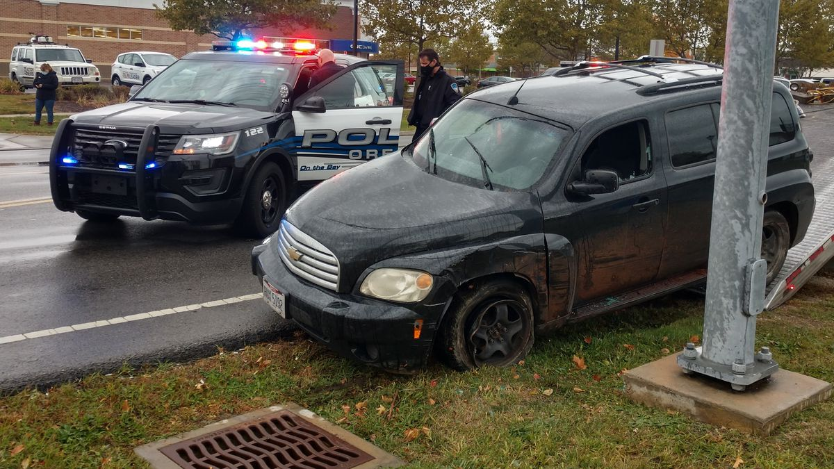 A woman led police on a chase in Toledo and into Oregon before crashing into a utility pole at Coy and Navarre.