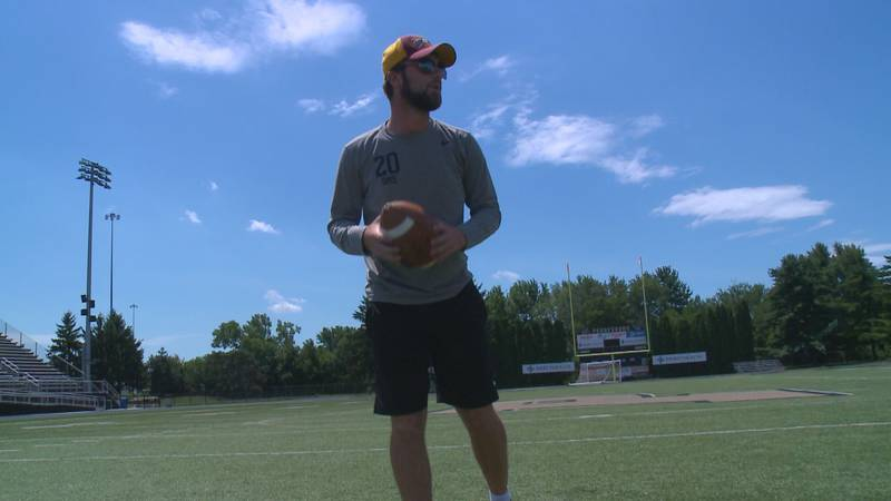 Drew Sims is now preparing for a football season in the spring at Heidelberg University.