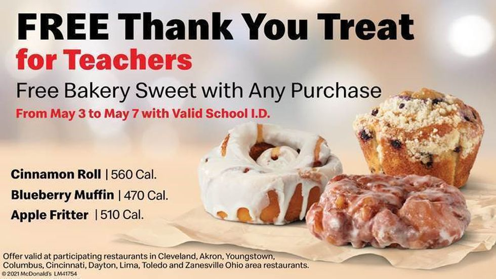 Participating McDonald's locations are offering a free baked goods with a purchase to teachers...