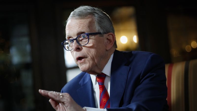 In this Dec. 13, 2019 file photo, Ohio Gov. Mike DeWine speaks during an interview at the...