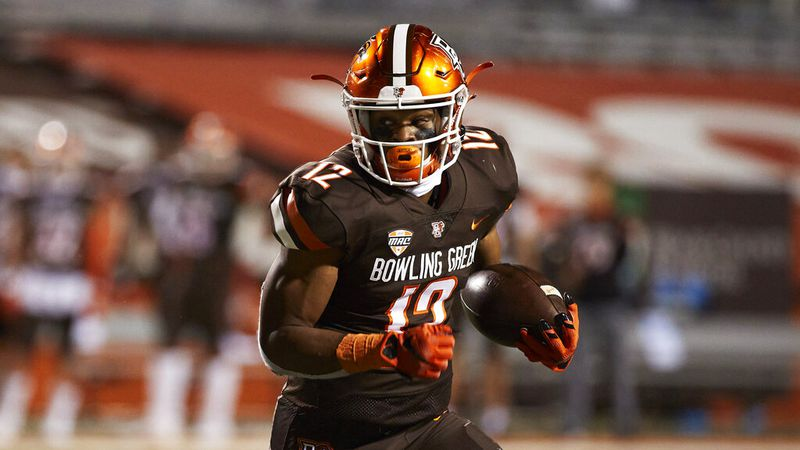 Bowling Green running back Bryson Denley (12) in action against the Kent State during an NCAA...