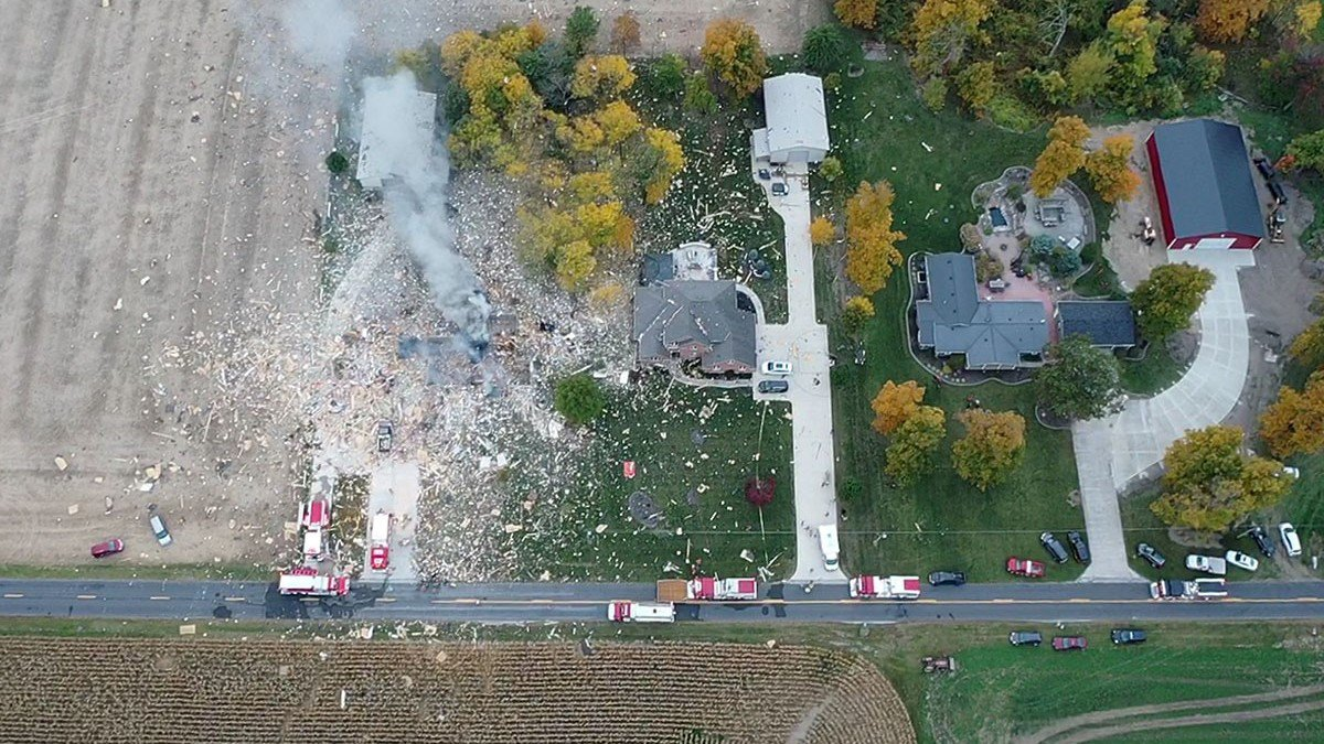 A home was leveled Sunday evening after an explosion in Mercer County.