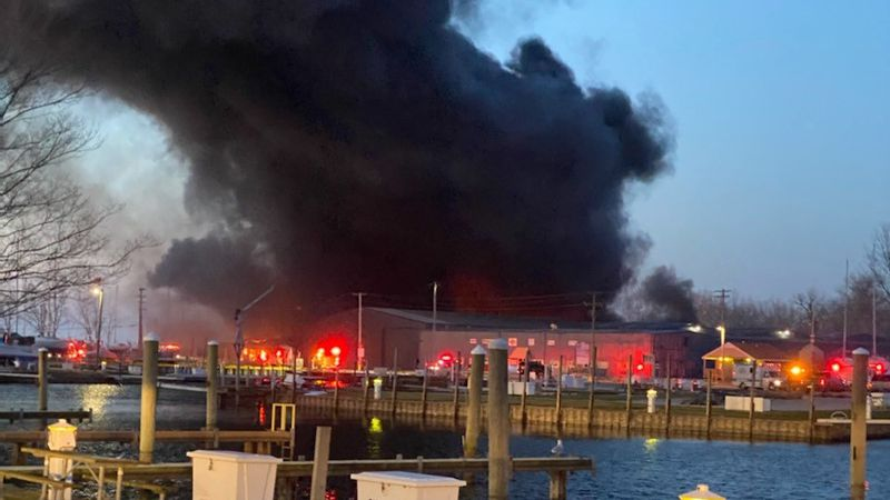 A fire broke out at the Toledo Beach Marina in LaSalle, Mich., on Friday, Dec. 4.